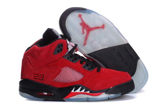 Womens Air Jordan 5 (V) suede leather Shoes red/black